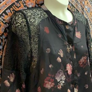 Floral black blouse with lace
